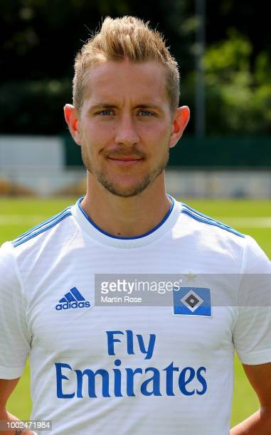 Lewis Holtby of Hamburger SV poses during the team presentation at on July 20 2018 in Hamburg Germany