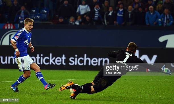 Lewis Holtby of Schalke scores his teams fifth goal during the Bundesliga match between FC Schalke 04 and Hannover 96 at Veltins-Arena on January 18,...