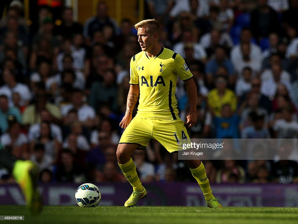 Lewis Holtby of Spurs controls the ball during a pre season friendly match between Tottenham Hotspur and FC Schalke at White Hart Lane on August 9, 2014 in London, England.
