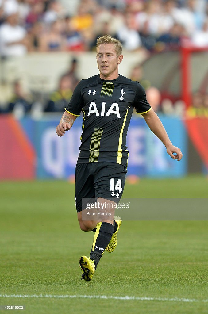 Lewis Holtby #14 of Tottenham Hotspur runs on the field during the first half against the Chicago Fire at Toyota Park on July 26, 2014 in Bridgeview, Illinois. Tottenham Hotspur defeated the Fire 2-0.