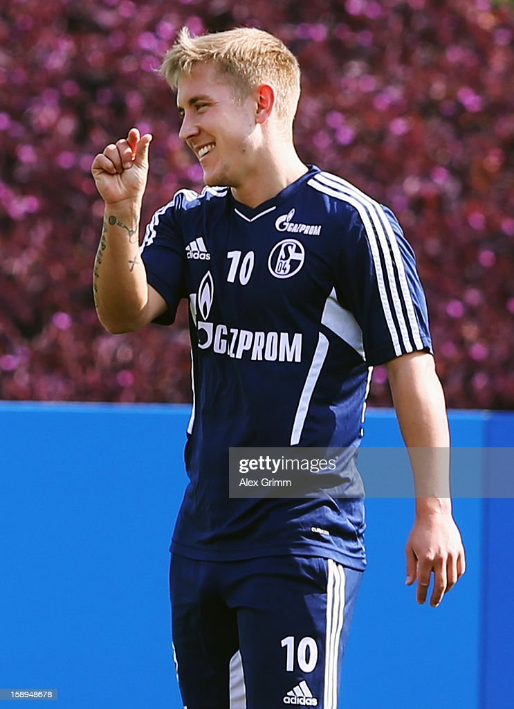 Lewis Holtby reacts during a Schalke 04 training session at the ASPIRE Academy for Sports Excellenc on January 4, 2013 in Doha, Qatar.