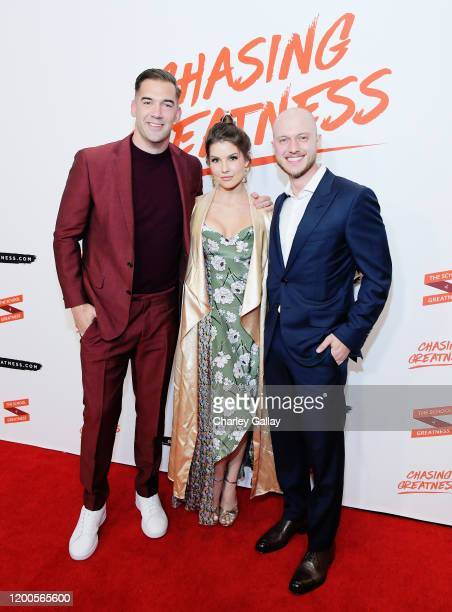 Lewis Howes Amanda Cerny and Johannes Bartl attend Lewis Howes Documentary Live Premiere Chasing Greatness at Pacific Theatres at The Grove on...