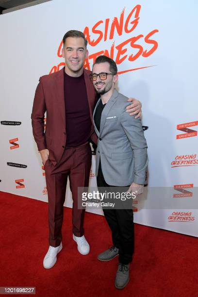 Lewis Howes and Brad R Lambert attend Lewis Howes Documentary Live Premiere: Chasing Greatness at Pacific Theatres at The Grove on February 12, 2020...