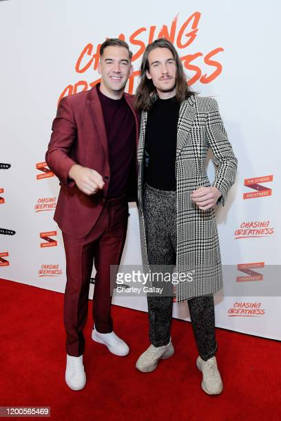 Lewis Howes and CJ Baran attend Lewis Howes Documentary Live Premiere Chasing Greatness at Pacific Theatres at The Grove on February 12 2020 in Los...