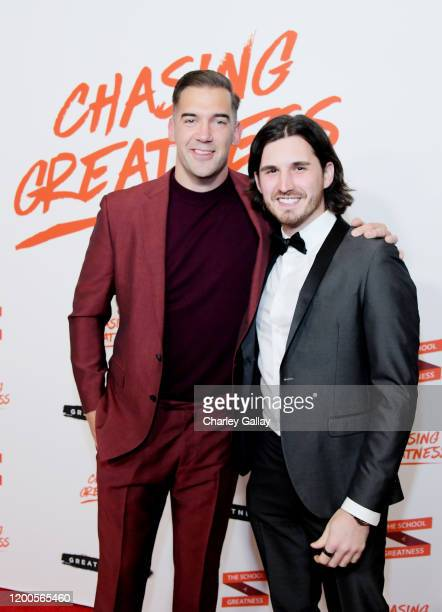 Lewis Howes and Felix Hartmann attend Lewis Howes Documentary Live Premiere Chasing Greatness at Pacific Theatres at The Grove on February 12 2020 in...