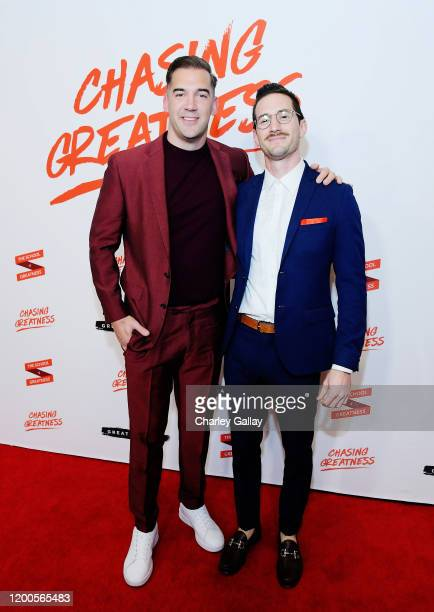 Lewis Howes and Jonathan Maxim attend Lewis Howes Documentary Live Premiere Chasing Greatness at Pacific Theatres at The Grove on February 12 2020 in...