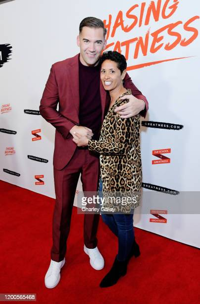Lewis Howes and Julie Merrick attend Lewis Howes Documentary Live Premiere Chasing Greatness at Pacific Theatres at The Grove on February 12 2020 in...