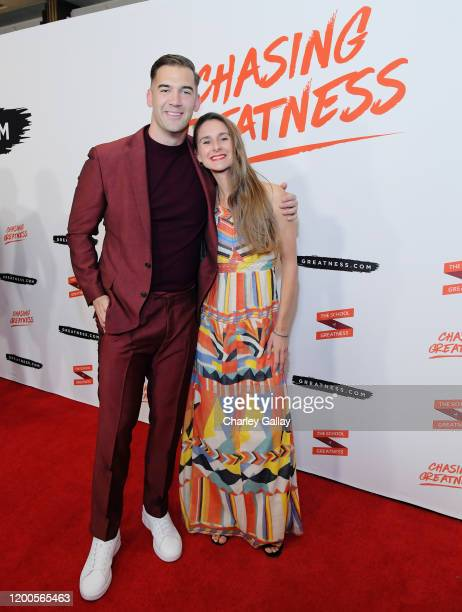 Lewis Howes and Laura Malina Seiler attend Lewis Howes Documentary Live Premiere Chasing Greatness at Pacific Theatres at The Grove on February 12...