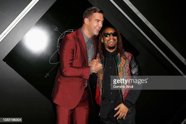 Lewis Howes and Lil Jon attend the Pencils of Promise 10th Anniversary Gala at Duggal Greenhouse on October 24 2018 in Brooklyn New York