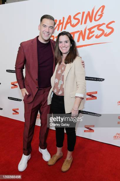 Lewis Howes and Nicole LePera attend Lewis Howes Documentary Live Premiere Chasing Greatness at Pacific Theatres at The Grove on February 12 2020 in...