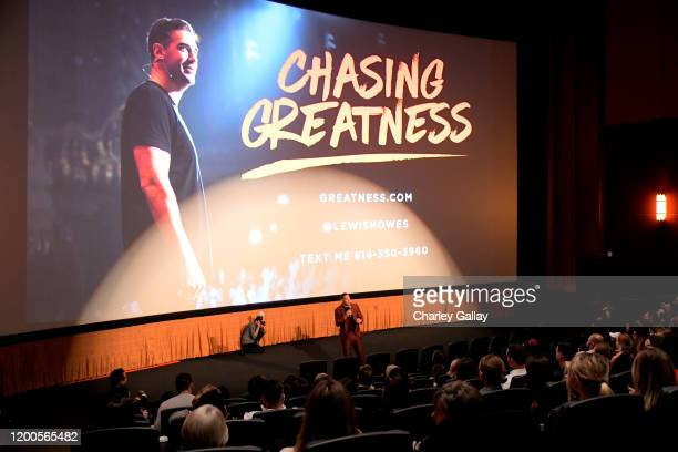 Lewis Howes speaks onstage during Lewis Howes Documentary Live Premiere Chasing Greatness at Pacific Theatres at The Grove on February 12 2020 in Los...