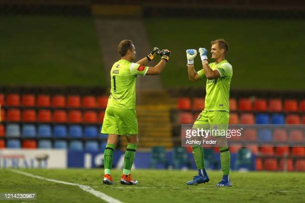 Lewis Italiano of the Jets is subbed off for Glen Moss during the round 26 A-League match between the Newcastle Jets and Melbourne City at McDonald...