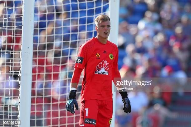 Lewis Italiano of the Phoenix during the round 17 ALeague match between the Newcastle Jets and Wellington Phoenix at McDonald Jones Stadium on...