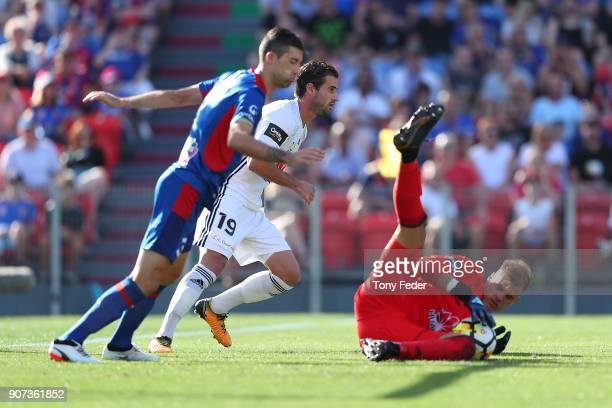 Lewis Italiano of the Phoenix makes a save during the round 17 ALeague match between the Newcastle Jets and Wellington Phoenix at McDonald Jones...