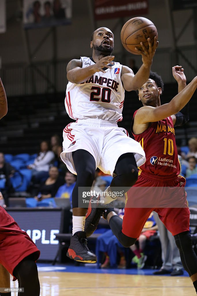 Lewis Jackson #20 of the Idaho Stampede shoots a layup against the Fort Wayne Mad Ants during the NBA D-League Showcase game on January 19, 2015 at Kaiser Permanente Arena in Santa Cruz, California.