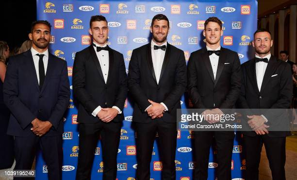 Adam and Nicky Simpson pose for a photo during the West Coast Eagles Brownlow Medal Function at Crown Perth on September 24 2018 in Perth Australia