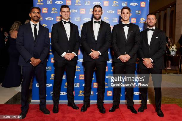 Lewis Jetta Elliot Yeo Jack Darling Jack Redden and Chris Masten pose for a photo during the West Coast Eagles Brownlow Medal Function at Crown Perth...