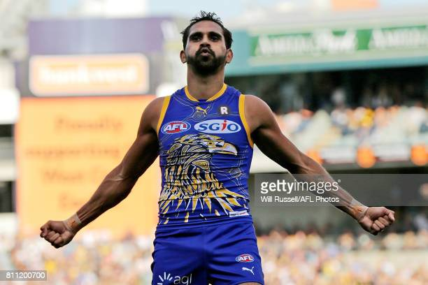 Lewis Jetta of the Eagles celebrates after scoring a goal during the round 16 AFL match between the West Coast Eagles and the Port Adelaide Power at...