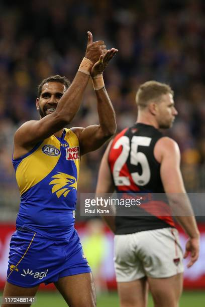 Lewis Jetta of the Eagles gestures to the spectators after a missed shot on goal by Jake Stringer of the Bombers during the AFL 1st Elimination Final...