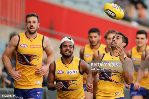Lewis Jetta of the Eagles juggles the ball during a West Coast Eagles AFL training session at Domain Stadium on September 4 2017 in Perth Australia