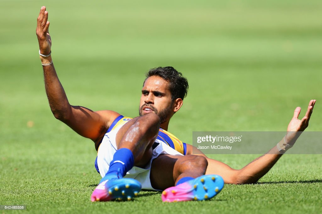 Lewis Jetta of the Eagles reacts during the 2017 JLT Community Series match between Greater Western Sydney Giants and the West Coast Eagles at Narrandera Sports Ground on February 18, 2017 in Narrandera, Australia.
