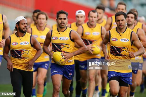 Lewis Jetta of the Eagles runs laps during a West Coast Eagles AFL training session at Domain Stadium on September 4 2017 in Perth Australia