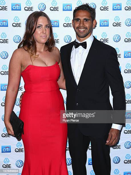 Lewis Jetta of the Swans and Jess Miller arrive for the Sydney Swans AFL Brownlow Medal function at Sydney Cricket Ground on September 24, 2012 in...