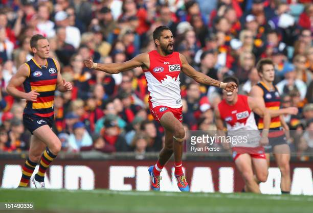 Lewis Jetta of the Swans celebrates a goal during the Second AFL Qualifying Final match between the Adelaide Crows and the Sydney Swans at AAMI...