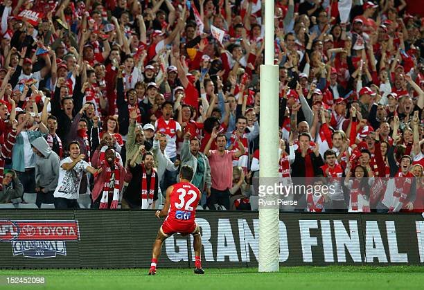 Lewis Jetta of the Swans celebrates after kicking a goal during the second AFL Preliminary Final match between the Sydney Swans and the Collingwood...