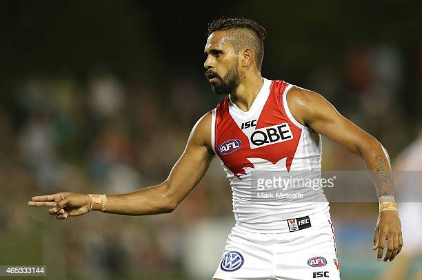 Lewis Jetta of the Swans celebrates scoring a super goal during the NAB Challenge AFL match between the Sydney Swans and the Brisbane Lions at Coffs...