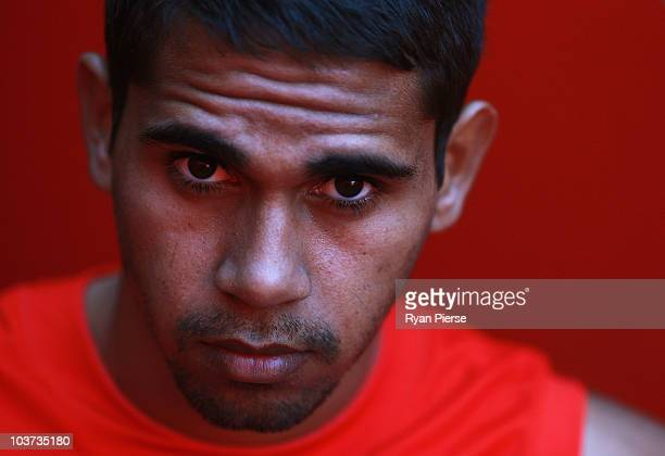 Lewis Jetta of the Swans poses during a Sydney Swans AFL media session at Sydney Cricket Ground on August 31 2010 in Sydney Australia