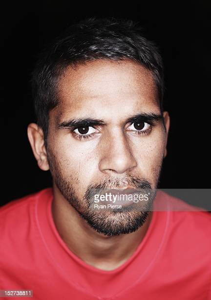 Lewis Jetta of the Swans poses during a Sydney Swans AFL media session at the Sydney Cricket Ground on September 25 2012 in Sydney Australia