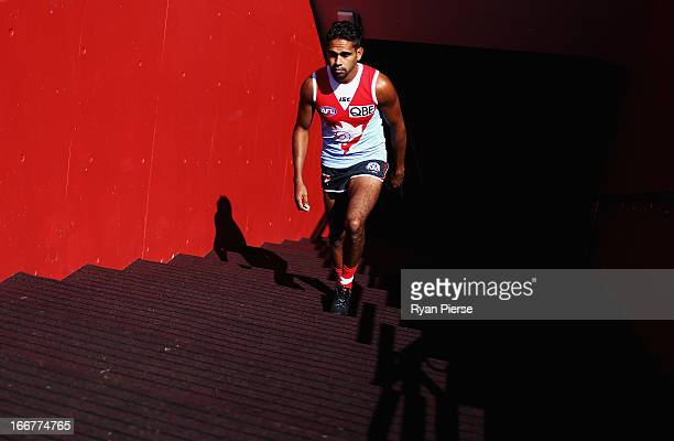 Lewis Jetta of the Swans walks out onto the ground during a Sydney Swans AFL training session at Sydney Cricket Ground on April 17 2013 in Sydney...