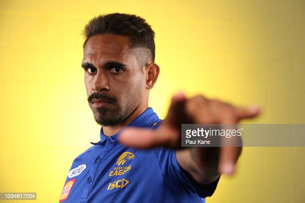 Lewis Jetta poses during a West Coast Eagles AFL media opportunity at Subiaco Oval on September 17 2018 in Perth Australia