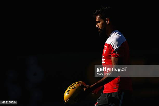 Lewis Jetta prepares to kick during a Sydney Swans AFL training session at the Sydney Cricket Ground on July 28 2015 in Sydney Australia