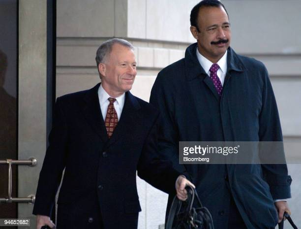 I Lewis Libby left former chief of staff to Vice President Dick Cheney and his attorney Theodore Wells leave US District Court in Washington DC after...