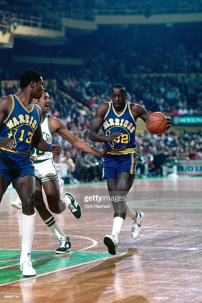 Lewis Lloyd #32 of the Golden State Warriors drives to the basket against the Boston Celtics during a game played in 1983 at the Boston Garden in Boston, Massachusetts.