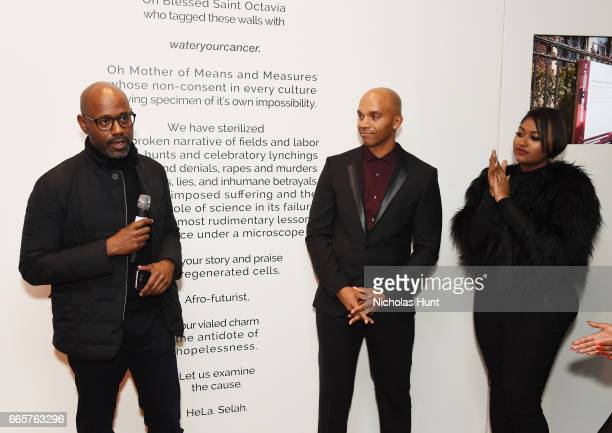 Lewis Long Kadir Nelson and Jazmine Sullivan attend HBO's The HeLa Project Exhibit For The Immortal Life of Henrietta Lacks on April 6 2017 in New...