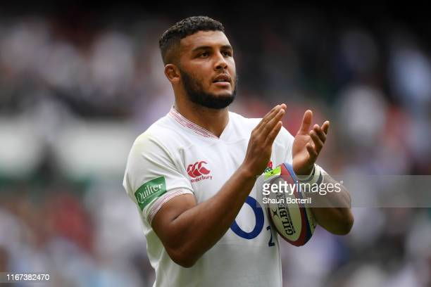 Lewis Ludlam of England applauds fans following victory in the 2019 Quilter International match between England and Wales at Twickenham Stadium on...