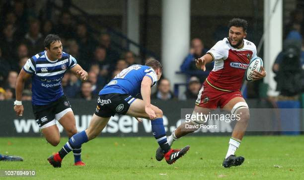 Lewis Ludlam of Northampton breaks with the ball during the Gallagher Premiership Rugby match between Bath Rugby and Northampton Saints at the...