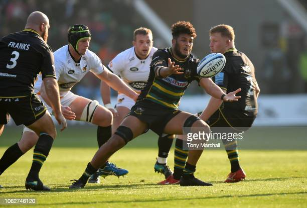 Lewis Ludlam of Northampton Saints gathers the ball during the Gallagher Premiership Rugby match between Northampton Saints and Wasps at Franklin's...