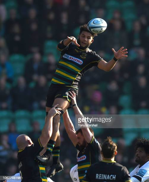 Lewis Ludlam of Northampton Saints in the line out during the Gallagher Premiership Rugby match between Northampton Saints and Wasps at Franklin's...