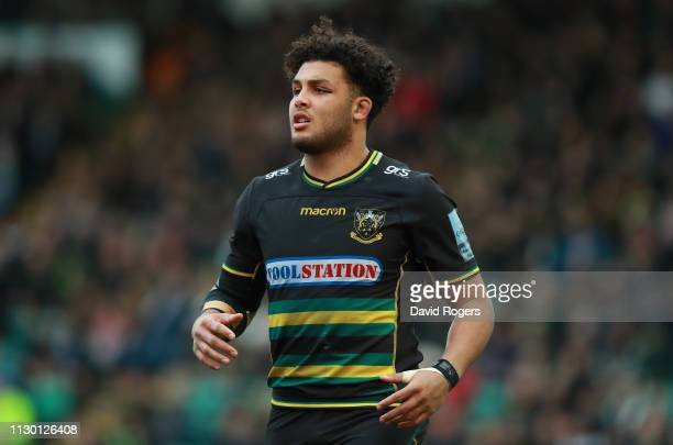 Lewis Ludlam of Northampton Saints looks on during the Gallagher Premiership Rugby match between Northampton Saints and Sale Sharks at Franklin's...
