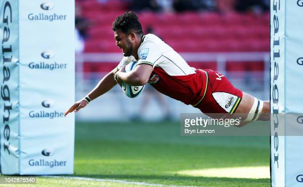 Lewis Ludlam of Northampton Saints scores a try during the Gallagher Premiership Rugby match between Bristol Bears and Northampton Saints at Ashton...