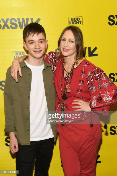Lewis MacDougall and Vera Farmiga attend the 'Boundaries' Premiere 2018 SXSW Conference and Festivals at Paramount Theatre on March 12 2018 in Austin...