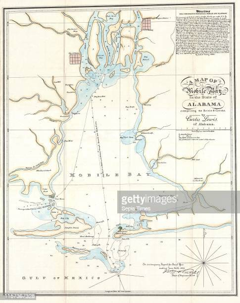 1886 Lewis Map of Mobile Bay Alabama