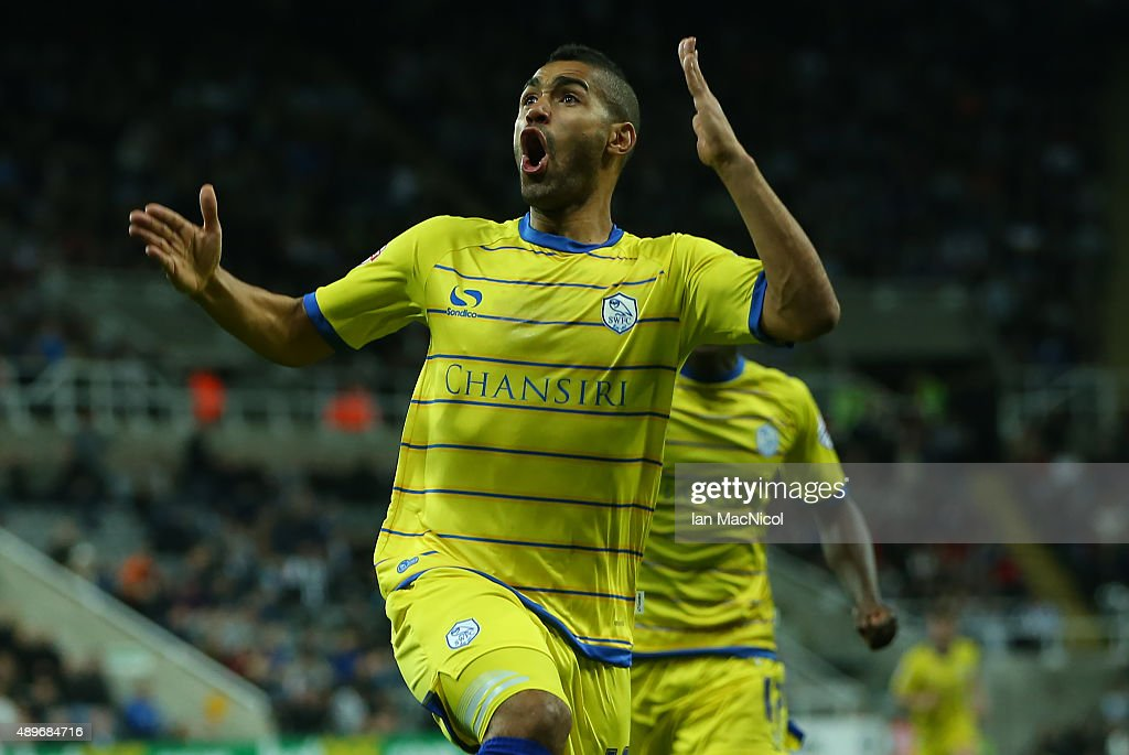 Lewis McGugan of Sheffield Wednesday celebrates scoring during the Capital One Cup Third Round match between Newcastle United and Sheffield Wednesday at St James Park on September 23, 2015 in Newcastle, England.