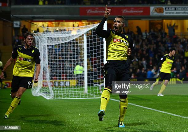 Lewis McGugan of Watford celebrates his second during the Sky Bet Championship match between Watford and Doncaster Rovers at Vicarage Road on...