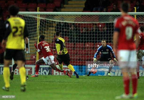 Lewis McGugan of Watford scores his team's second goal during the Budweiser FA Cup third round replay match between Watford and Bristol City at...