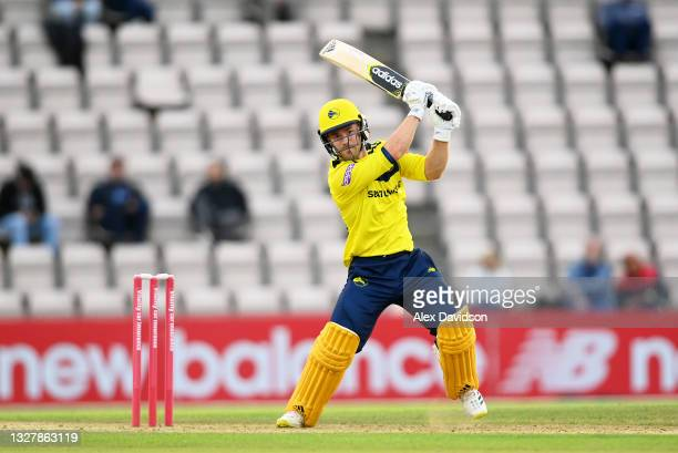 Lewis McManus of Hampshire hits out during the Vitality T20 Blast match between Hampshire and Somerset at The Ageas Bowl on July 09, 2021 in...